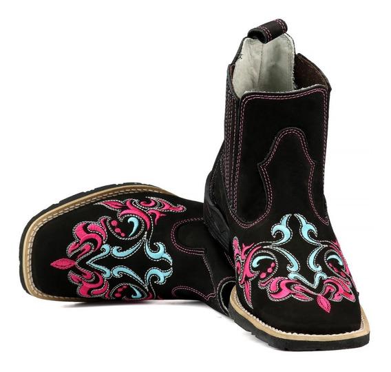 Bota Feminina Botina Country Texana Couro Bico Quadrado