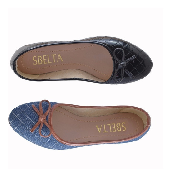 Kit 2 Sapatilhas Feminina Sbelta Confortável Sapato Moleca