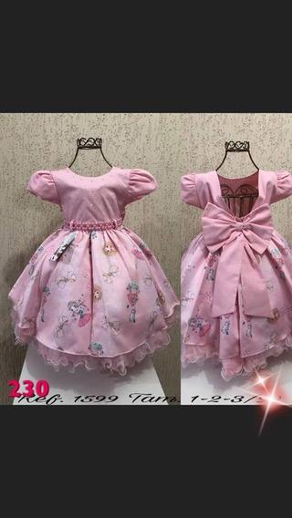 Vestido Infantil Luxo Rose Nude + Laço