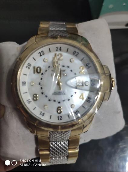 Relógio Invicta Signature Automatico Aço E Plaque Ouro Origi