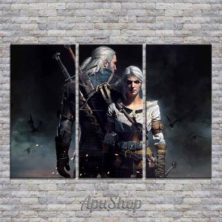 Cuadros Lienzo Tríptico 90x60 Videojuegos The Witcher 3
