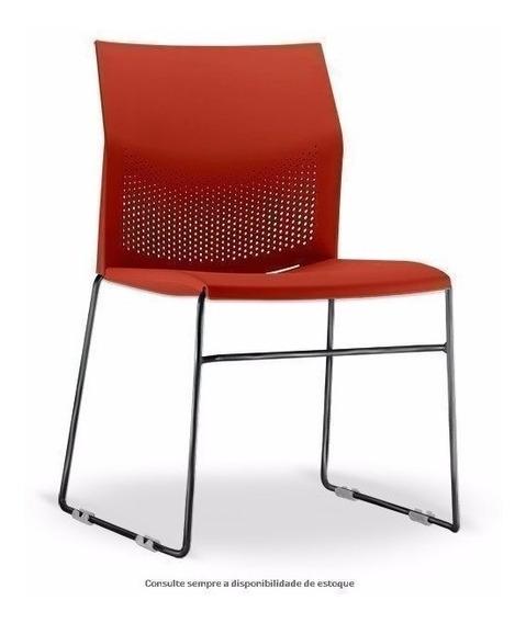 Cadeira Connect Em Polipropileno Vermelho C/ Estrutura Preta