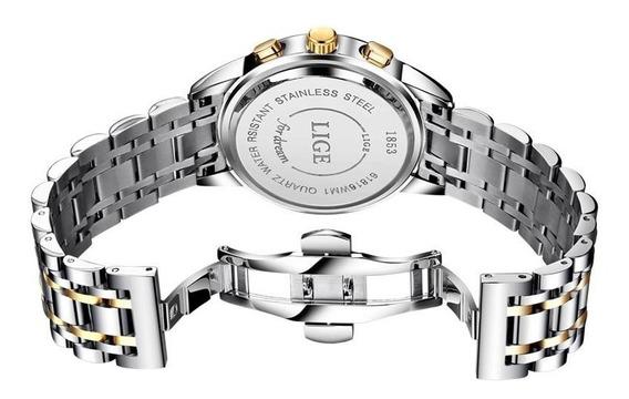 Relógio Lige 9810 - Prata Dourado E Branco A Prova D