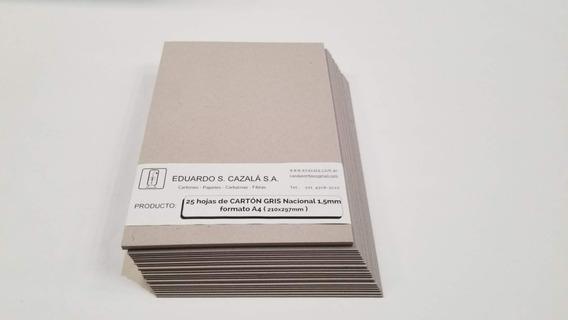 Cartón Gris Nacional A4 - Espesor 1.5 Milímetros - X50 Hojas