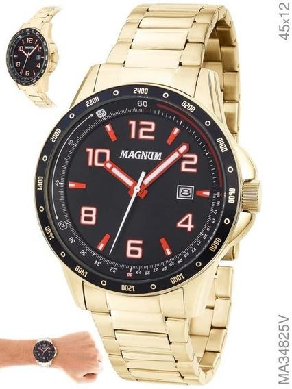 Relógio Masculino Dourado Original Magnum Ouro Garantia