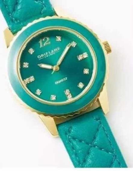 Reloj Verde Esmeralda Chapado Con Cristal De Swarovski
