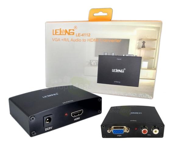 Conversor Vga + Audio Rca Para Hdmi 1080p Full Hd Com Fonte