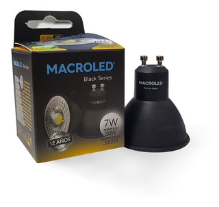 Lampara Dicroica Led 7w Negra Gu10 220 Calida Black Macroled