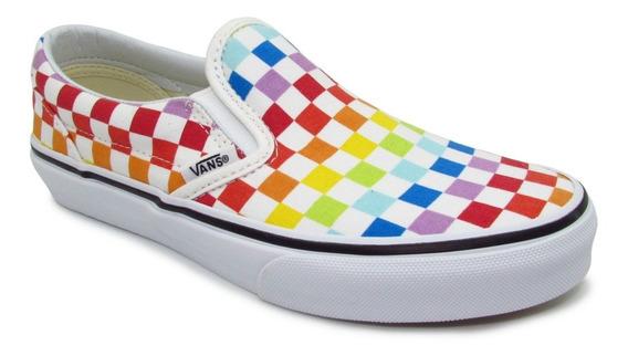 Tenis Vans Classic Slip On Vn0a32qiu09 Checkerboard Rainbow