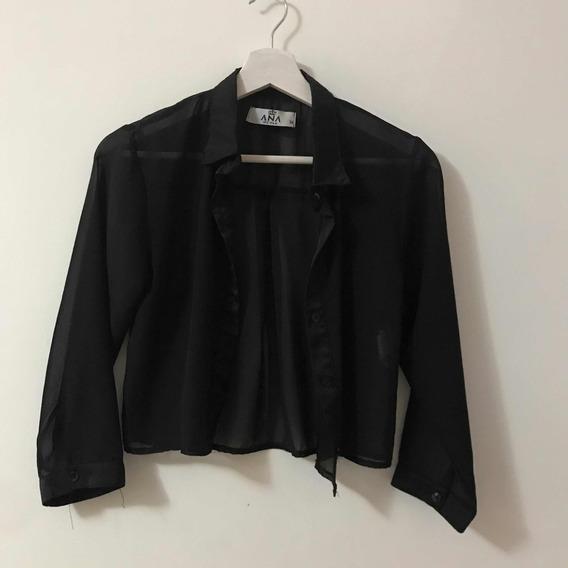 Camisa Negra Translúcida Ana Reina
