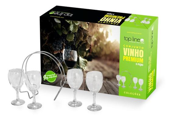 Kit Jogo Conjunto Para Vinho Premium Taça E Suporte 5pcs