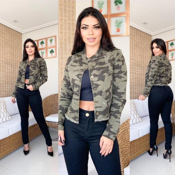 Jaqueta Feminina Jeans Com Lycra Modeladora Blusa De Frio