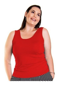 Blusa Roupa Feminina Regata Básica Plus Size Alça Larga