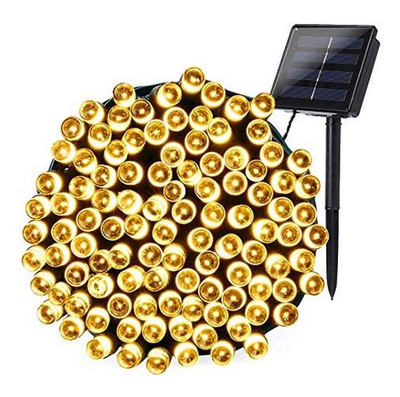 Luces Solares 100 Led Exterior Cálidas 15 Mts Balcones