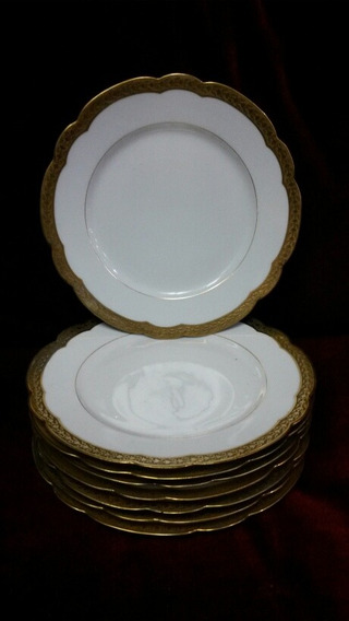 8 Platos Porcelana Limoges 22 Cm. - Cód. 30600
