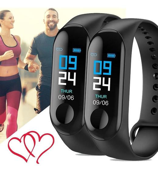 Combo 2 Relógios Bracelete M3 Bluetooth Dia Dos Namorados