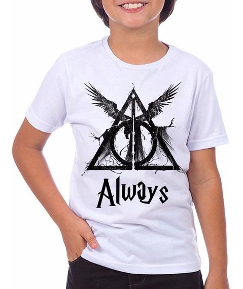 Camiseta Infantil Harry Potter Hp Reliquias Da Morte Hogwart