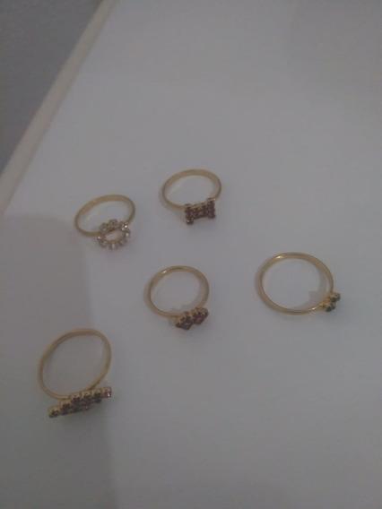 Anéis Semi-jóias Folheados A Ouro - Anti-alérgicos-5unidades