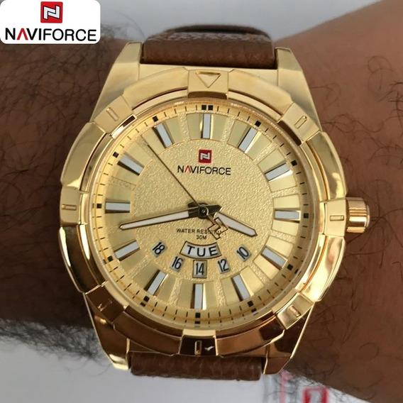 Relógio De Couro Original Esporte Fino Frete Grátis Nf 9118