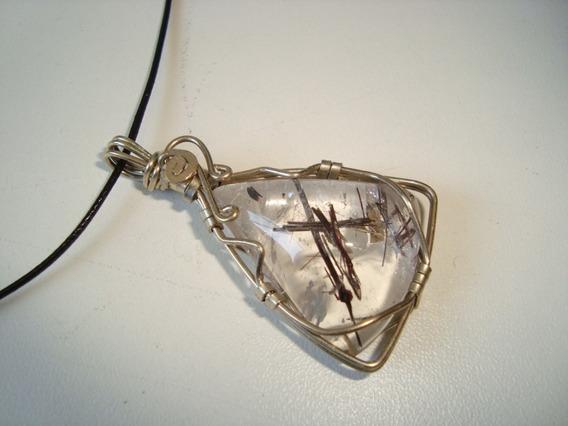 Colar Couro Pingente Pedra Cristal Rutilado Metal Alpaca 1