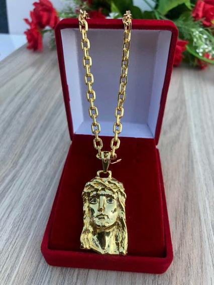 Cordão Cadeado Corrente Banhado + Pingente Jesus 70cm 3mm