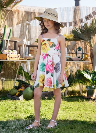 Vestido Niña - Floreado Rosa Talla 4, 6, 8, 10,12,14 (importado- Nuevo Con Etiquetas)