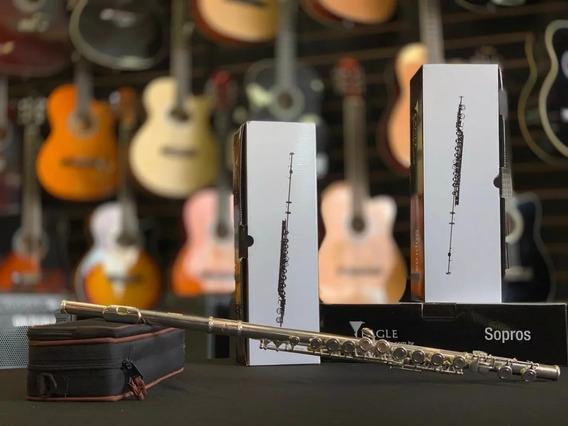 Flauta Transversal Prateada Em Dó Fl03s Eagle Com Estojo