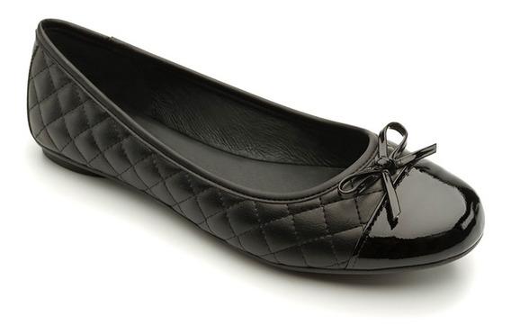 Flexi Zapato De Piso Piel Negro Moño Mujer Cómodos Casual