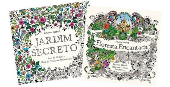 2 Livros Para Colorir Floresta Encantada + Jardim Secreto