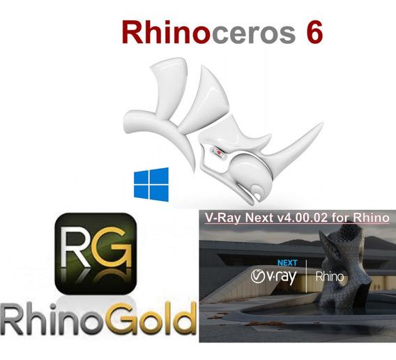 Rhinoceros 2019 V6 + Vray Next Versão 4 + Rhinogold 6