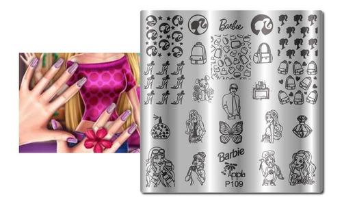 Placas Para Carimbos De Unhas Apipila  P 109  Barbie