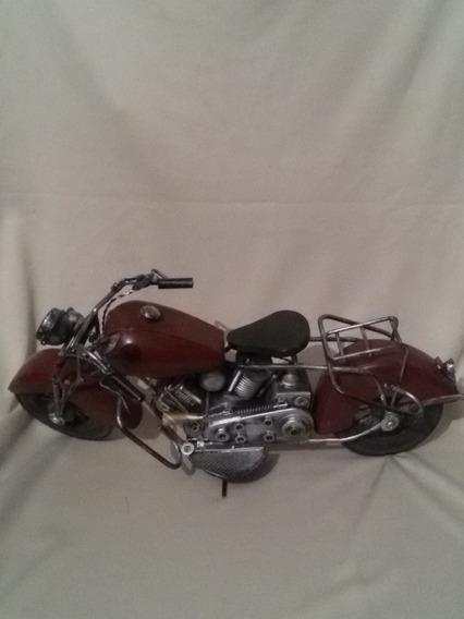Antiga Mini Moto De Ferro Com Banco Preto Artesanal- Nº4906g