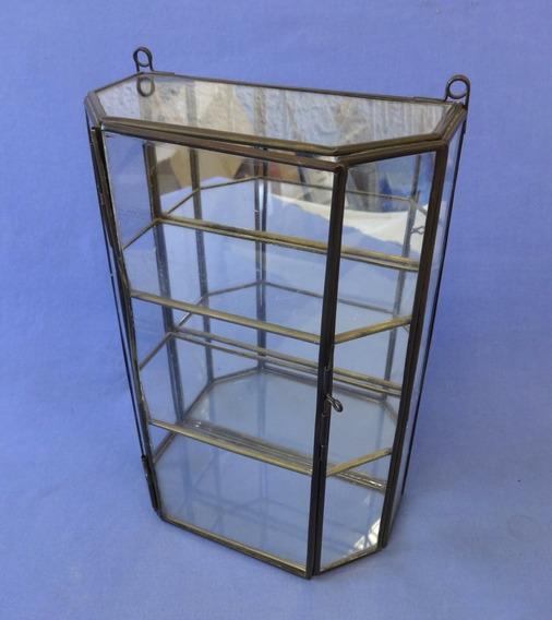 Cristaleira Miniatura Com Espelho No Fundo - Vidro E Metal
