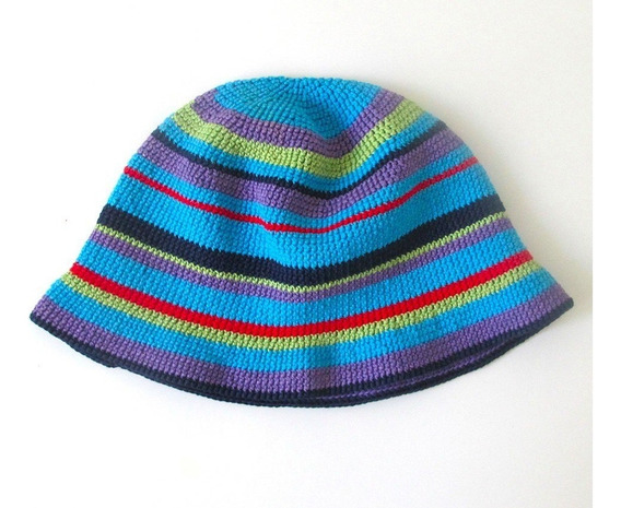 Gorro Playa Multicolor Hilo Crochet A Mano Impecable