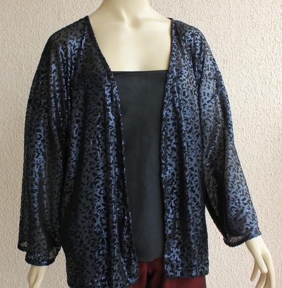 Casaco Casaqueto Cardigã Kimono De Paetê