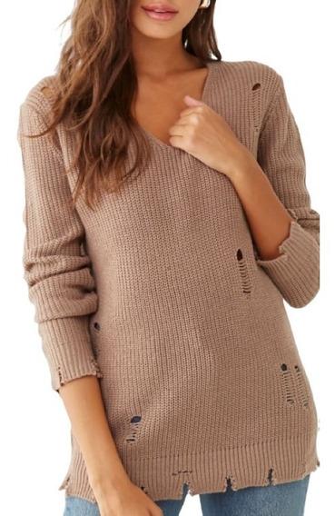 Sweater Escote V Apparel Forever 21 Blanco Negro Importados