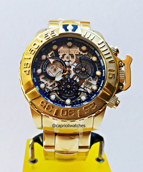Relógio Invicta Subaqua 24772 Skeleton Gold 18k Limited
