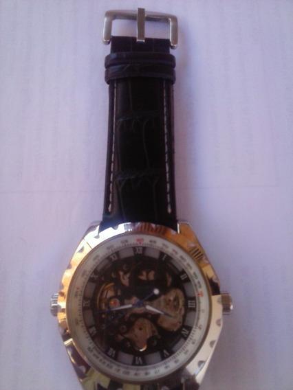 Relógio Automático Esqueleto Pulseira De Couro