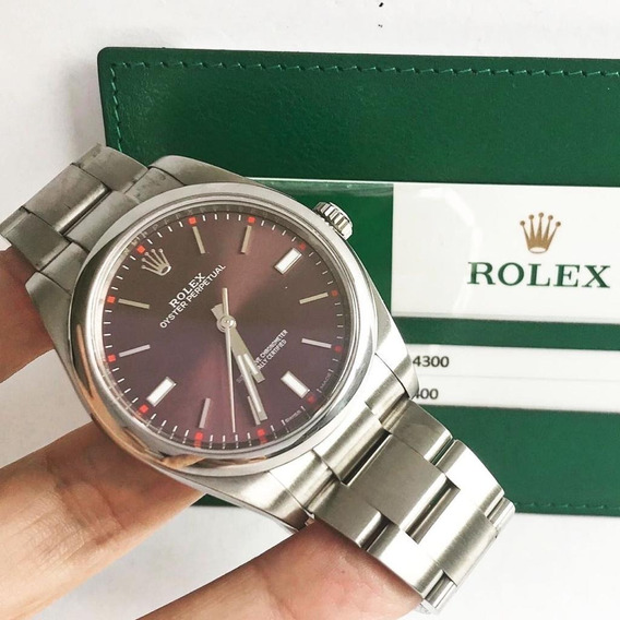 Rolex Oyster Perpetual 39 Red Grape Completo Impecável