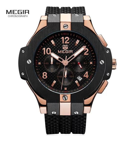 Relógio Luxo Megir Original 3bar Vidro Cristal Mineral