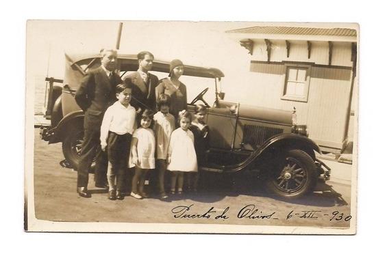 Foto Postal Antigua Puerto De Olivos 1930 Auto Familia 02