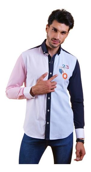 Camisa Caballero Portoblanco Algodón Cielo Y Rosa E-653