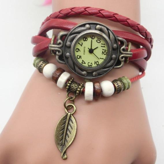 Pulseira De Couro Relógio De Pulso Ladies Relógio Folha Mu