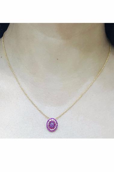 Colar Feminino Pingente Rosa Folheado A Ouro 18k C Zircônias