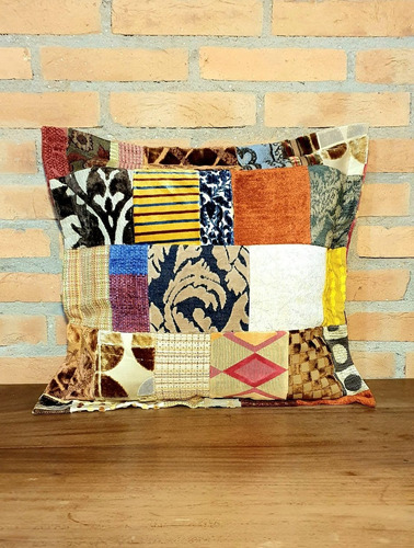 Capa Almofada Patchwork Retalhos Tecido Nobre Jacquard 50x50