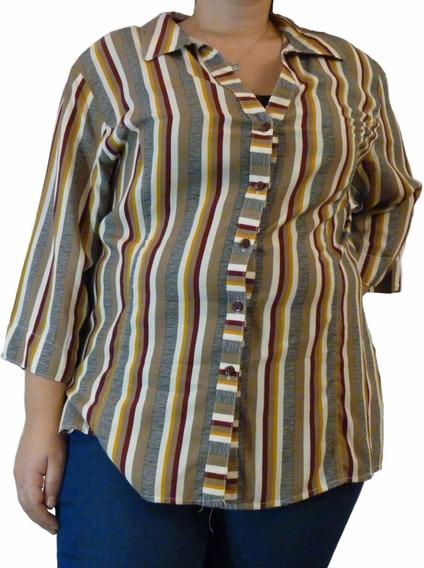 Camisa De Mujer, Señora, Talles Grandes Del 3 Al 7