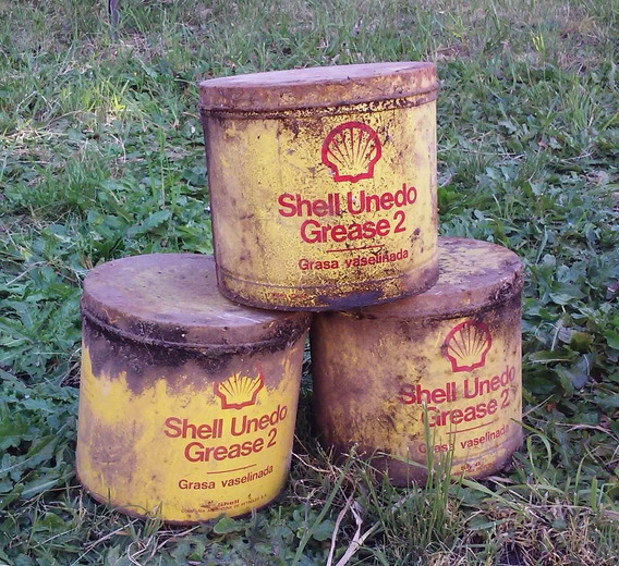 Antiguas Latas De Shell Unedo Grease 2 De 1 Kg Vacias