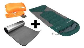 Saco De Dormir Freedom Verde +isolante + Travesseiro Nauitka