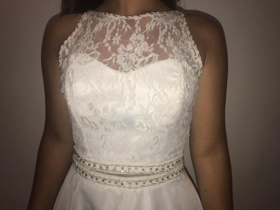 Vestido De 15 - Dos Piezas - Encaje Y Raso - Bordado A Mano