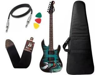 Kit Guitarra Venom Marvel Phx Gmv1 Capa Cabo E Correia
